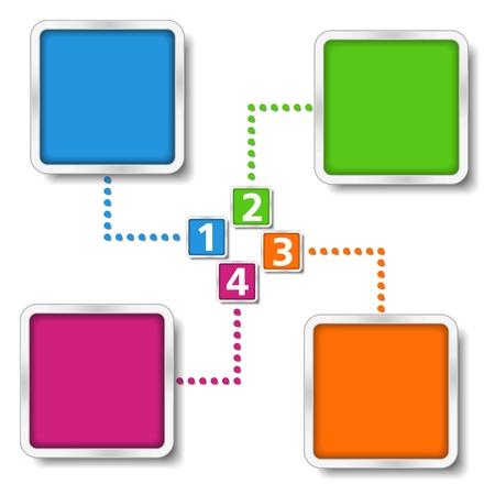 cuatro elementos: Diagrama de plantilla con cuatro elementos Vectores
