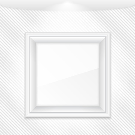 White frame on a striped wall Stock Vector - 15239002