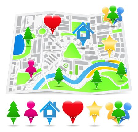 Map with Map Markers Stock Vector - 15238999