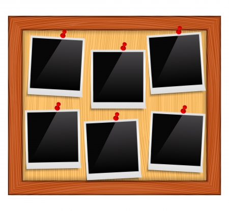 attached: Photo frames on bulletin board