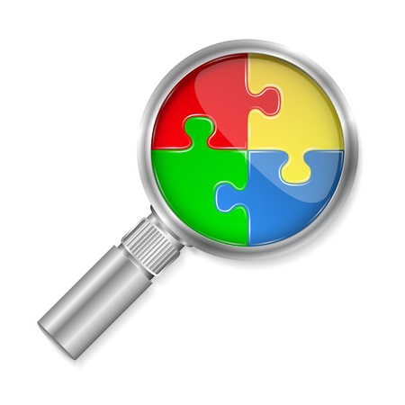 Magnifier with puzzle circle Vector