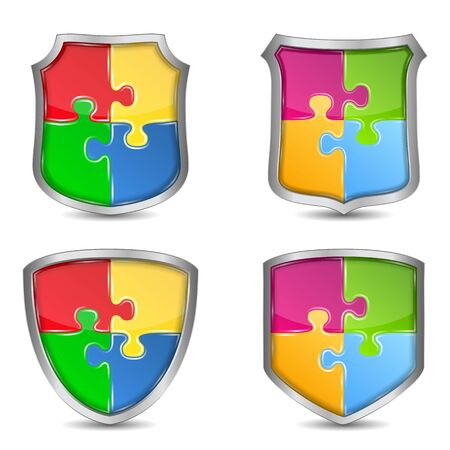 Set of shields with puzzle pieces Vector