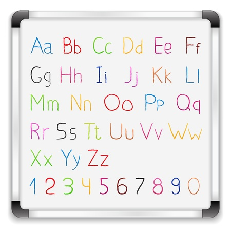 Hand drawn alphabet on whiteboard Vector