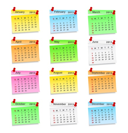 event planner: 2013 Calendar on paper notes