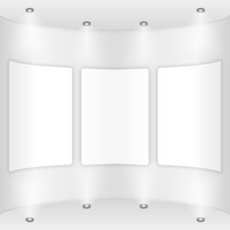 Three frames on a round wall, gallery Vector