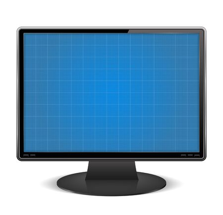 e liquid: Graph paper on the screen of computer monitor