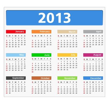2013 Calendar, Stock Vector - 15442510