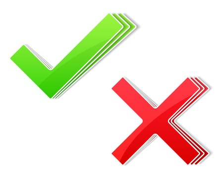test paper: Paper check and cross symbols