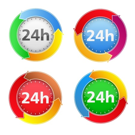 24x7: 24 hours icons