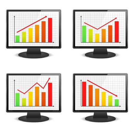 Computer monitors with different graphs Stock Vector - 15442508