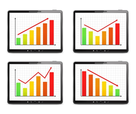 Different bar graphs on the screen of tablet computer Stock Vector - 15756354