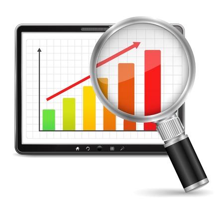 Lupa gráfico de barras que muestra crecimiento en la pantalla de tablet PC Ilustración de vector
