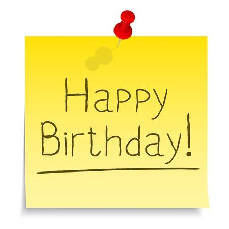 postit: Happy Birthday post-it note Illustration