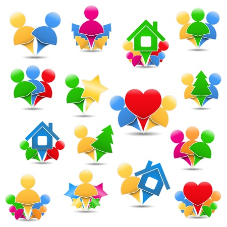 Set of different icons with humans Stock Vector - 15756358
