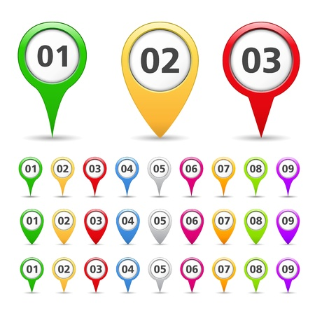 push pins: Map markers with numbers Illustration
