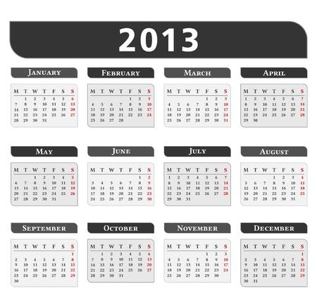 2013 Calendar Stock Vector - 16030952