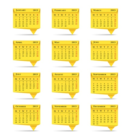 Yellow calendar for 2013  year, origami style Vector