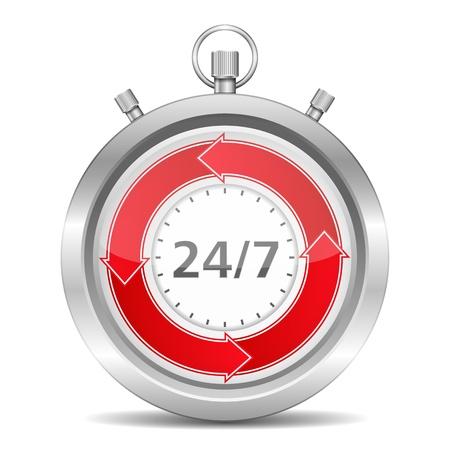24 7: 24 7 Concept Illustration