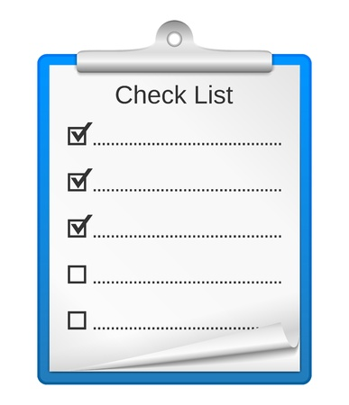 blank check: Clipboard with check list