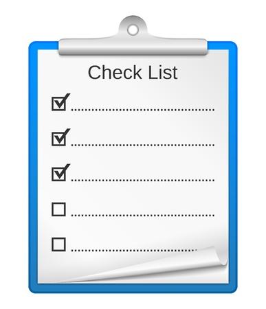cheque en blanco: Portapapeles con lista de verificación