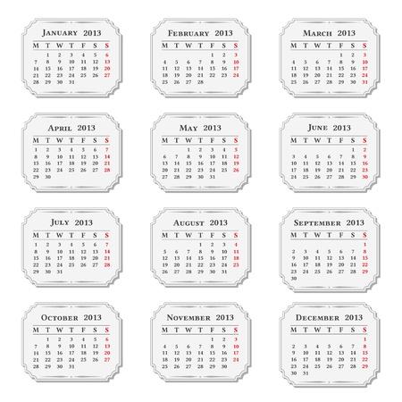 2013 Calendar, vintage style Stock Vector - 16170243