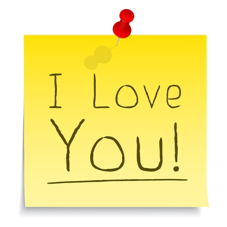 postit note:  I Love You  Post-it Note Illustration