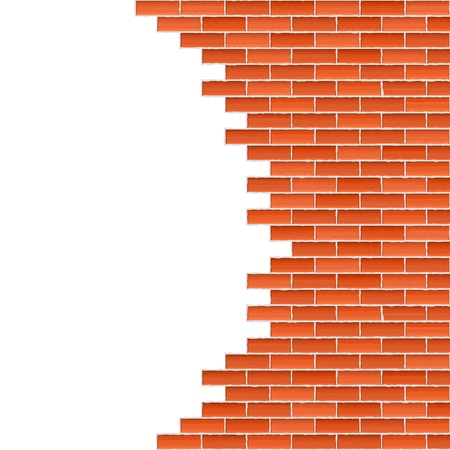 hole in wall: Broken brick wall Illustration