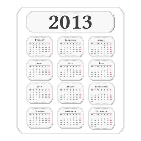 Vertical 2013 calendar, vintage style Vector