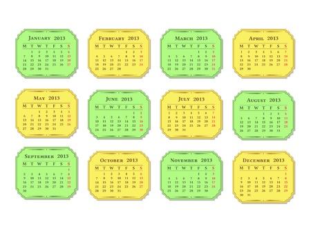Horizontal 2013 calendar, vintage style Stock Vector - 16279032