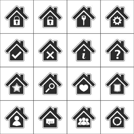 housing search: Set di icone differenti con una casa Vettoriali