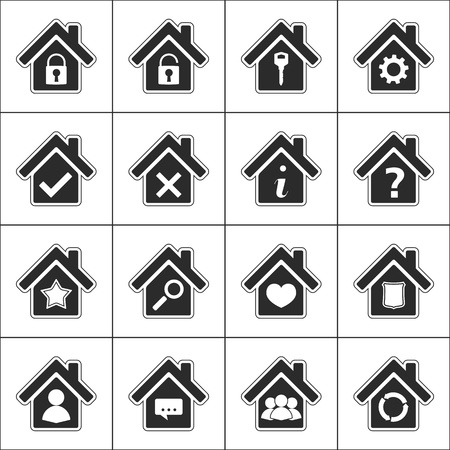 closed community: Set of different icons with a house