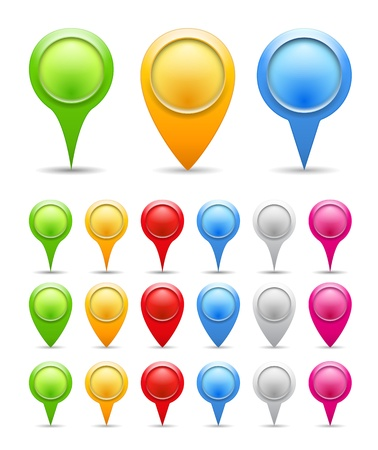 Set of blank map pins Vector
