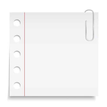 White paper note with clip Vector