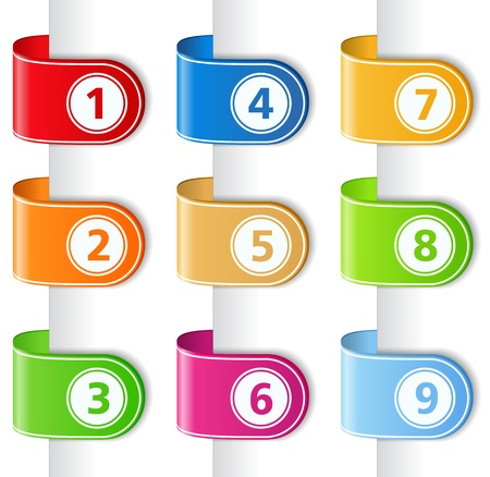 three colors: Set of ribbons with numbers