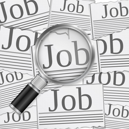 vacancies: Job search concept with magnifying glass Illustration