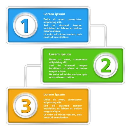 three colors: Template of diagram with three elements Illustration