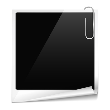 old photograph: Photo frame with curl and paper clip