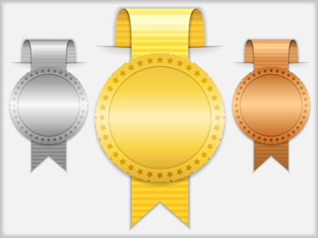 bronze medal: Golden, silver and bronze medals with ribbons