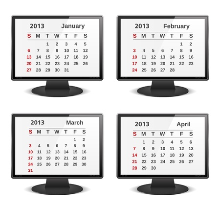 2013 calendar on the screen of computer monitor Stock Vector - 16504760