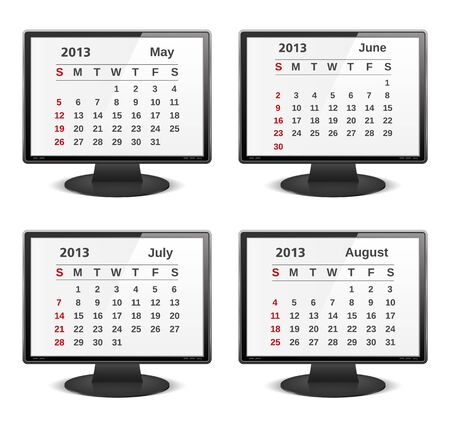 2013 calendar on the screen of computer monitor Stock Vector - 16504761