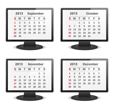 2013 calendar on the screen of computer monitor Vector
