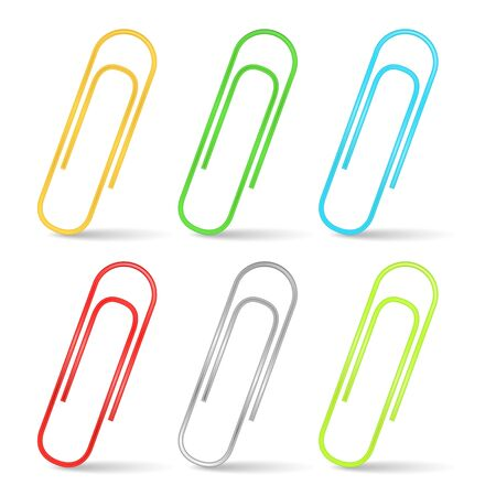 back to school supplies: Color paper clips Illustration
