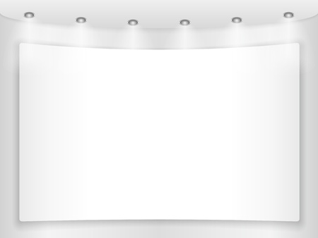 white wall: Big blank placard on a round wall