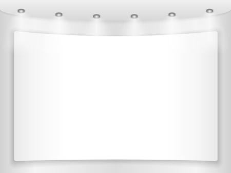 an exposition: Grande cartello in bianco su un muro rotondo