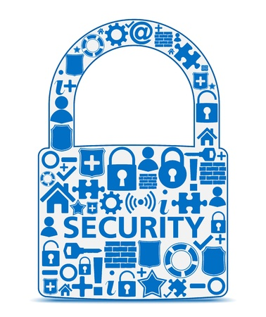 Abstract lock made of security icons, security concept Stock Vector - 16504753