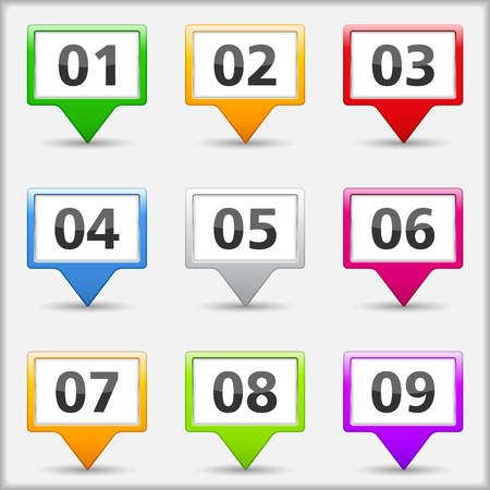 Map pins with numbers Vector
