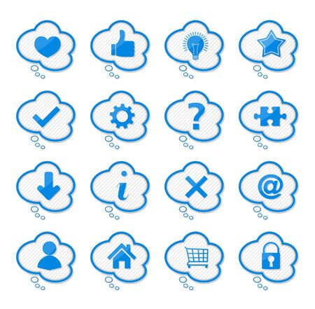 Set of blue speech bubles with icons Stock Vector - 16504767