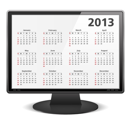 2013 calendar on the screen of computer monitor Stock Vector - 16613274