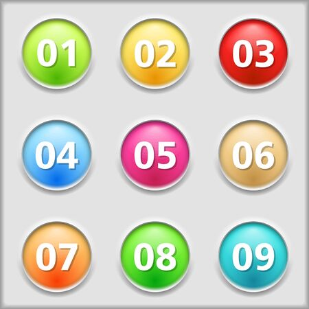 number icons: Set of round buttons with numbers