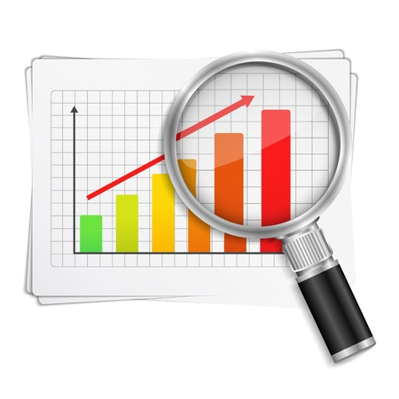 financial report: Magnifying glass showing rising bar graph